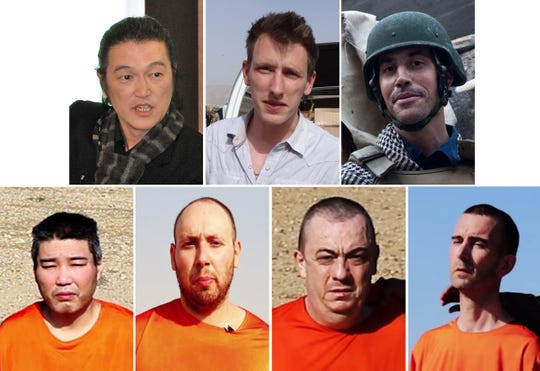 """Victims of Islamic State militant """"Jihadi John,"""" a member of the cell dubbed """"The Beatles,"""" are shown in various handout file pictures and image grabs. Top left to bottom right: Japanese freelance video journalist Kenji Goto, U.S. aid worker Peter """"Abdel-Rahman"""" Kassig, U.S. freelance reporter James Foley, Japanese national Haruna Yukawa, U.S. freelance writer Steven Sotloff, British national Alan Henning and British aid worker David Haines."""