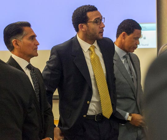 Kellen Winslow II appears in court in Vista, Calif., on the first day of his rape trial.