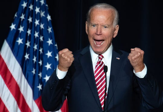In this file photo taken on March 16, 2019, former US Vice President Joe Biden speaks during the First State Democratic Dinner in Dover, Delaware. - Joe Biden raked in $6.3 million in the 24 hours since launching his presidential bid, his campaign said April 26, 2019, outpacing Day 1 fundraising of all other Democrats in the crowded 2020 field. Online donations to the former vice president, already considered the frontrunner among the Democrats seeking to challenge President Donald Trump, averaged $41, and 61 percent of total money raised came from new donors who were not on earlier Biden email lists.