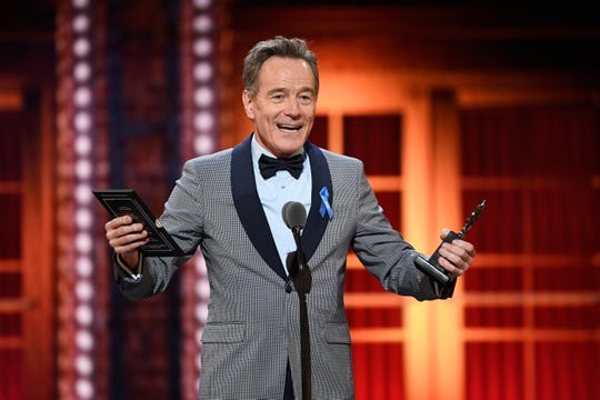 "Bryan Cranston got political as he accepted best leading actor in a play for ""Network."""