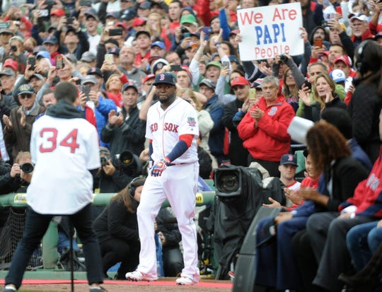David Ortiz walks onto the field for pregame ceremonies in his honor prior to a game against the Toronto Blue Jays at Fenway Park.