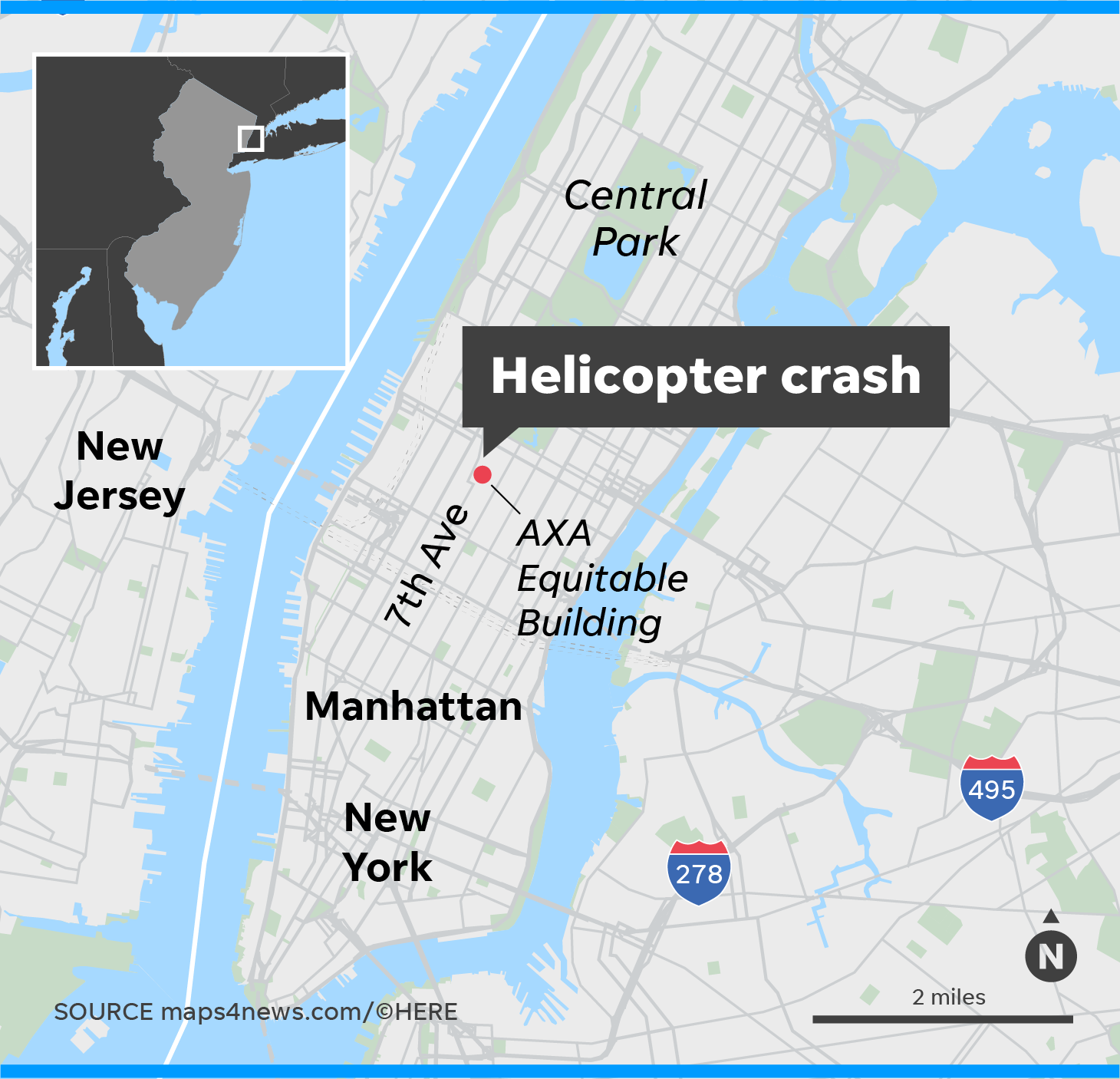 Map Of New York Rockefeller Center.Helicopter Crash Nyc Incident Kills One Causes Fire In Manhattan