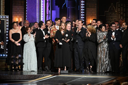 "Jun 9, 2019; New York, NY, USA; Producer Eva Price accepts the award for best revival of a musical for ""Rodgers & Hammerstein's Oklahoma!â"" during the 73rd Annual Tony Awards ceremony at Radio City Music Hall.  Mandatory Credit: Danielle Parhizkaran-USA TODAY"