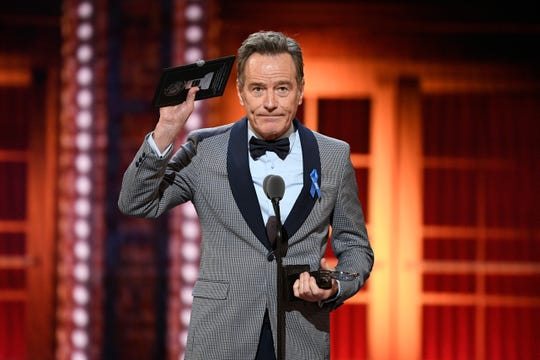 "Bryan Cranston accepts his second Tony for ""Network,"" based on the 1976 satirical film."