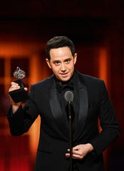 """Jun 9, 2019; New York, NY, USA; Santino Fontana accepts the award for leading actor in a musical for his role in """"Tootsie"""" during the 73rd Annual Tony Awards ceremony at Radio City Music Hall.  Mandatory Credit: Danielle Parhizkaran-USA TODAY"""