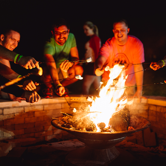 Roasting marshmallows at the Alamo Drafthouse Sleepaway Camp in Marble Falls, Texas