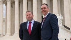 Jonathan Ellis, reporter, and Cory Myers, news director, of the Argus Leader newspaper based in Sioux Falls, S.D., brought a Freedom of Information Act challenge to the Supreme Court in April.