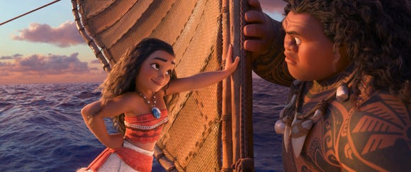 "Tenacious teenager Moana (voice of Auli'i Cravalho) recruits demigod Maui (Dwayne Johnson) to help her become a master wayfinder in the animated ""Moana"" in 2016."