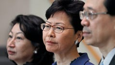 From right, Hong Kong Secretary for Security John Lee, Hong Kong Chief Executive Carrie Lam and Secretary of Justice Teresa Cheng listen to reporters questions during a press conference in Hong Kong Monday, June 10, 2019. Lam signaled Monday that her government will go ahead with proposed amendments to its extradition laws after a massive protest against them.