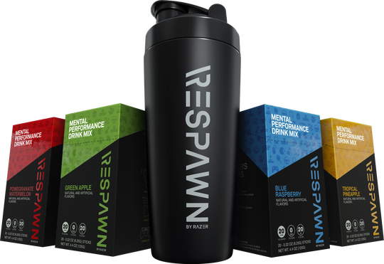 Respawn is an all-new mental performance drink mix designed for gamers, by gamers. $24.99 USD Drink mix sold in 20-pack box for $24.99 (Flavors: Pomegranate Watermelon, Blue Raspberry, Tropical Pineapple, Green Apple); Shaker cup ($29.99)
