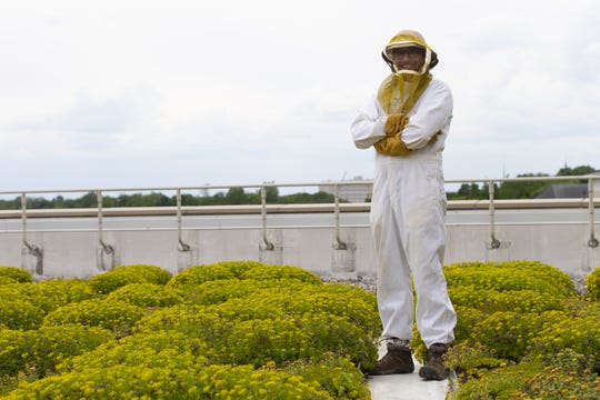 Lawrence University assistant professor of biology Israel Del Toro poses on the roof of the Watch Campus Center in Appleton. If McFleshman's gets a beekeeping permit, Del Toro will set up the hives on its roof.