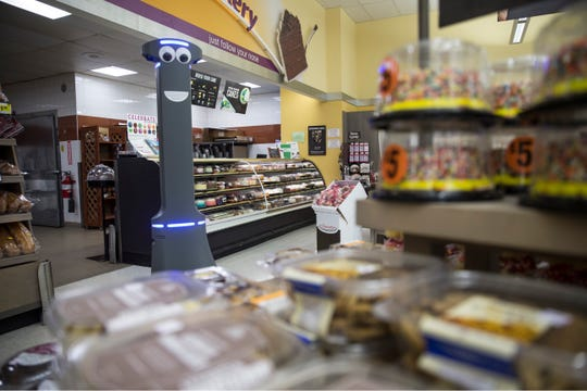 Marty the robot strolls the aisles of Stop & Shop looking for spills, dropped items, and debris to help keep shoppers safe.  Brick, NJ Tuesday, June 11, 2019