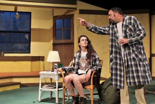 "Herbert Tucker (Doug Jeter) makes his point during a discussion with his daughter Libby (Lauren Bridwell), who has shown up unannounced at his Hollywood residence in this rehearsal scene from McMurry University summer theater production of ""I Ought to be in Pictures."""