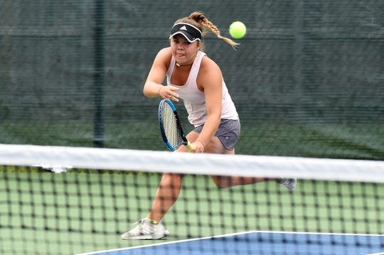 Abilene's Kaitlyn Strain watches her shot during the third round of the Texas Slam Girls 16 singles consolation bracket.