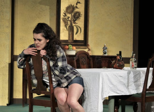 "Libby Tucker (Lauren Bridwel) tells about her life while talking with her father Herbert in this rehearsal scene from McMurry University summer theater production of ""I Ought to be in Pictures."" It'll be staged this weekend at 7:30 p.m. Friday and Saturday."
