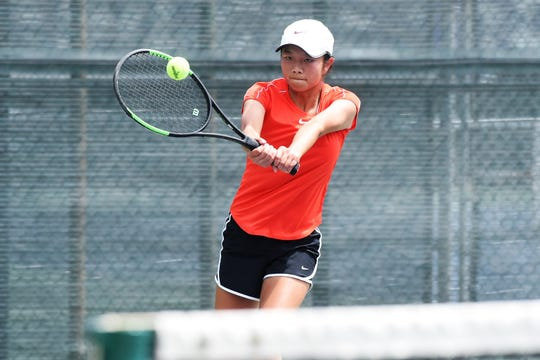 Abilene's Ruth Hill hits a shot at the net during the Round of 32 in the Texas Slam Girls 16 singles bracket at ACU on Tuesday, June 11, 2019. Hill dropped the match 6-0, 6-1 to fifth-seeded Karsyn Evans and will compete in the fourth round of the consolation bracket back at ACU on Wednesday morning.