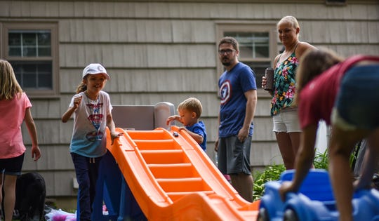 From left.  Charlie, 8, Oliver, 3, Nick, and Alexis Buckley at Charlie's third birthday party Saturday, June 8, 2019.