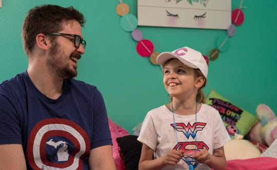 """I'm happy we're back home, that she can return to a more typical childhood,"" Nick Buckley says, Saturday, June 10, 2019, less than three weeks after donating his left kidney to daughter Charlie.  ""The night before Charlie was admitted for transplant, I asked her what it was like to have a kidney removed.  She said if a little girl can do it, then a 34-year-old man can do it."""