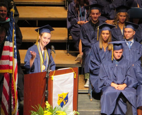 Julia Allen gives her valedictorian speech during Susquehanna Valley High School's 2015 graduation at the Broome County Forum.