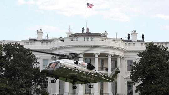 A test model of the new presidential helicopter lands on the White House South  Lawn.