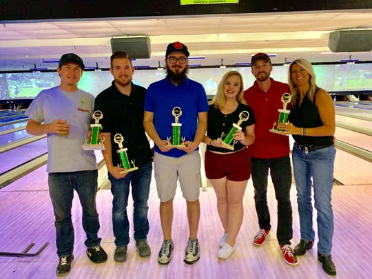 Jordan Benton, Brenner Blankenship, Robert Koehler, Liz Fitch, Travis Hill and Carol Craig were on Craig Technologies' winning team at the 2019 Junior Achievement Bowlathon. Koehler bowled a perfect game for the win.