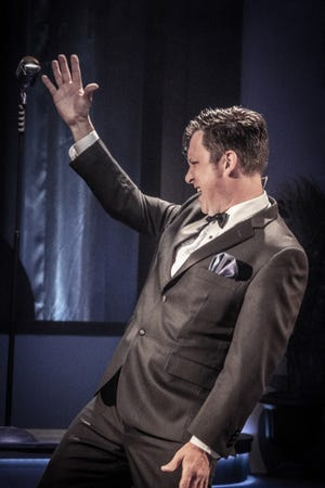 """Eric Cecilio sings during a performance of """"My Way: A Musical Tribute to Frank Sinatra,"""" which runs until June 23 at the Eagle Theatre in Hammonton."""
