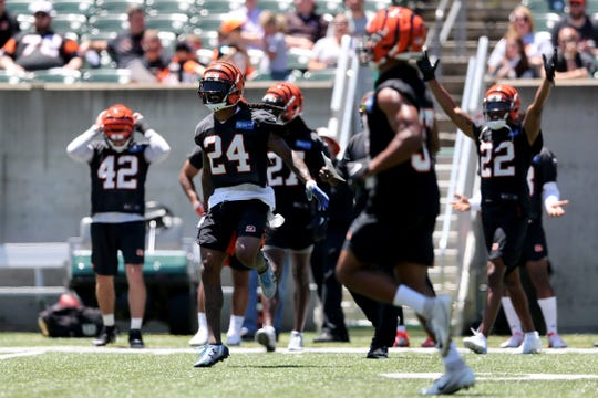 Cincinnati Bengals cornerback B.W. Webb (24) and the secondary celebrate a pass break up during minicamp practice, Tuesday, June 11, 2019, at Paul Brown Stadium in Cincinnati.