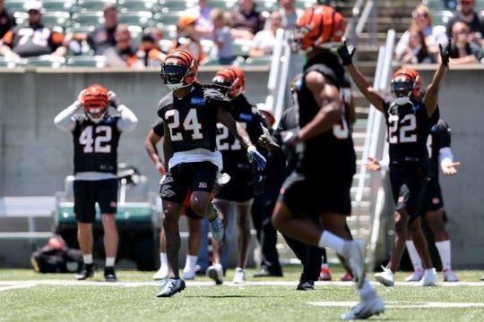 Cincinnati Bengals cornerback B.W. Webb (24) and the secondary celebrate a pass break up during minicamp practice, Tuesday, June 11, 2019, at Paul Brown Stadium in Cincinnati.