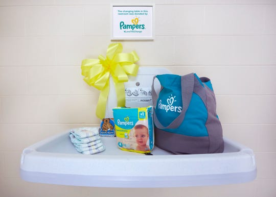 A recently installed diaper changing table at the Price Hill Recreation Center located at 959 Hawthorne Avenue, Cincinnati, OH. Pampers announced today a commitment to install 5,000 changing tables in the US and Canada by 2021 as part of a program called #LovetheChange.