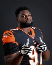 Cincinnati Bengals defensive tackle Geno Atkins (97) poses for a photo, Monday, June 10, 2019, at Paul Brown Stadium in Cincinnati.