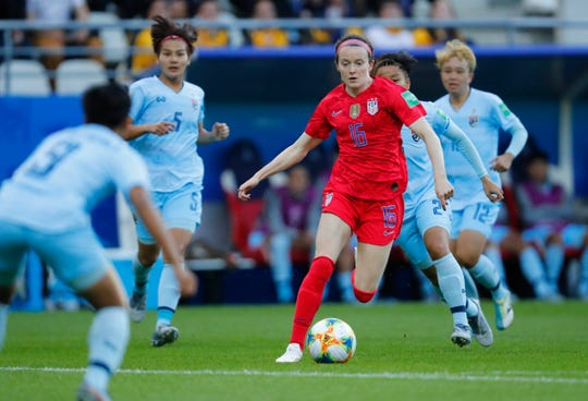 United States midfielder Rose Lavelle (16) controls the ball against Thailand during the first half in group stage play during the FIFA Women's World Cup France 2019 at Stade Auguste-Delaune on June 11.
