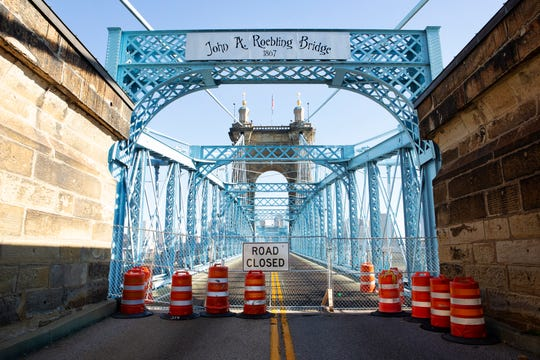 The John A. Roebling Suspension Bridge seen from the Covington, Kentucky, side on Tuesday, June 11, 2019.
