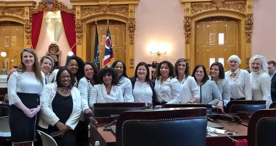 Democrats in the Ohio House wore white to the governor's State of the State address on March 5, 2019 to honor the anniversary of women's suffrage.