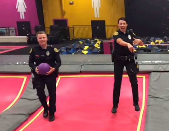 Officers have some fun at Hop with a Cop at P3.