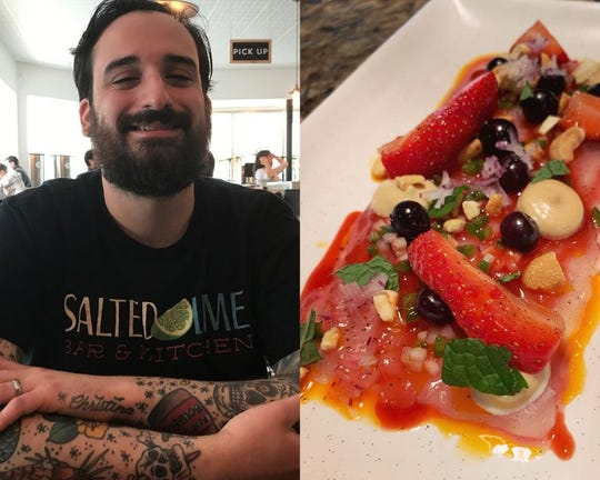 On the right, Salted Lime sous chef Chris Minikus. On the left, snapper tiradito with strawberry, hibiscus pickled blueberry, jalapeno, radish and smoked cashew