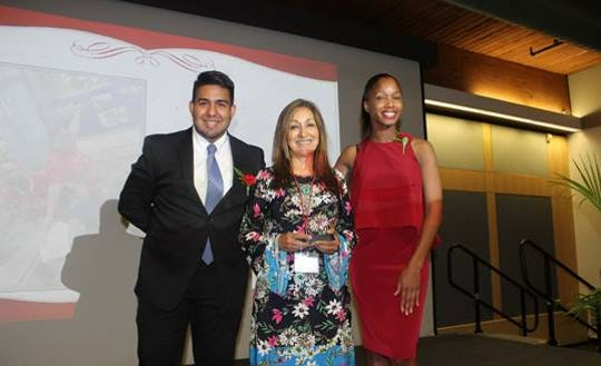 (Left to right) Ezio Intriago, program coordinator; Gloria Montealegre, Plainfield Public Schools Community Engagement Liaison; Jackasha I. Wiley, director of Upward Bound and Pre-College Initiatives, Student Access & Educational Equity-Undergraduate Academic Affairs, President-Elect — The Association for Equality and Excellence in Education (AEEE)