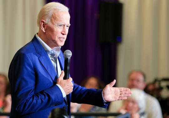 Former Vice President Joe Biden campaigns in a packed room at Iowa Wesleyan University in Mount Pleasant, Iowa Tuesday, June 11, 2019.