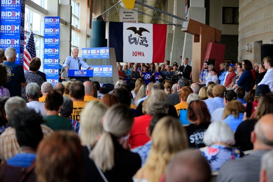 Former Vice President Joe Biden campaigns in a packed hall in Ottumwa, Iowa Tuesday, June 11, 2019.
