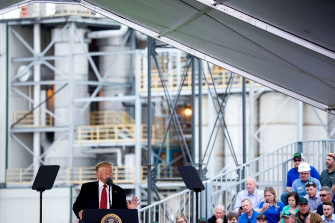 President Donald Trump gives remarks after touring the Southwest Iowa Renewable Energy ethanol plant on Tuesday, June 11, 2019, in Council Bluffs, Iowa.