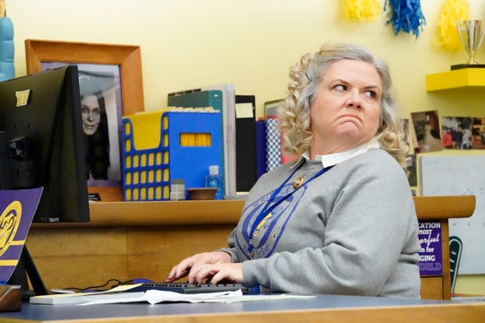"Paula Pell as Helen, the school secretary on ""A.P. Bio."""