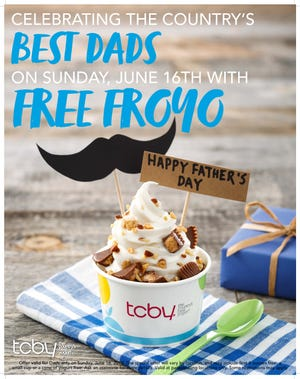 Dads get free frozen yogurt on Father's Day.