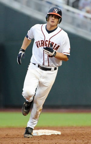 The Tigers' John Hicks played in the College World Series twice during his time at the University of Virginia.