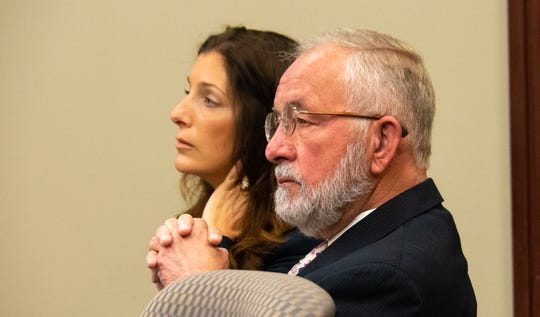 William Strampel, the former dean of Michigan State University's College of Osteopathic Medicine, sits at the defense table during closing arguments in his trial on misconduct and sexual assault charges on Tuesday, June 11, 2019, in Ingham County Court in Lansing.