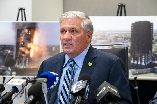 Attorney Robert Mongeluzzi speaks with members of the media during a news conference in Philadelphia, Tuesday, June 11, 2019. A lawsuit filed in the United States says faulty building materials helped spread a fire at London's Grenfell Tower in 2017.