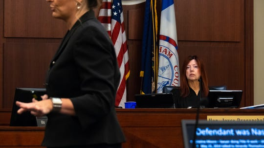 Judge Joyce Draganchuk listens as Assistant Attorney General Danielle Gagaman-Clark deliver's the state's closing arguments.