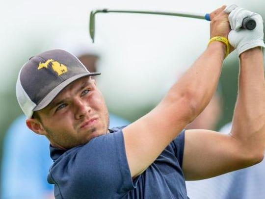 Nick Carlson wore a custom Michigan baseball cap at the 2016 U.S. Amateur.