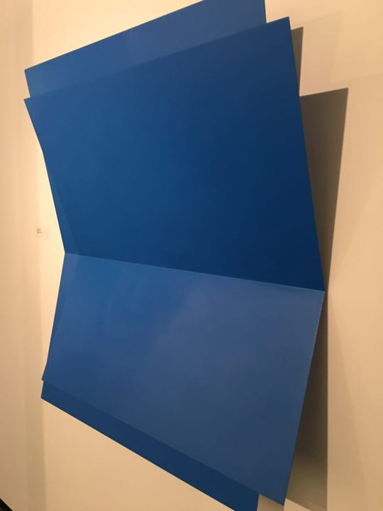 """Echo"" by Lois Teicher, one of the few strongly colored pieces in the minimalist show at Detroit Artists Market."