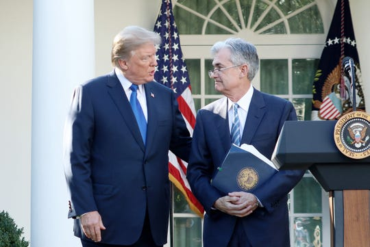 """President Trump announces his nominee for the chairman of the Federal Reserve, Jerome Powell, on Thursday, Nov. 2, 2017.  On June 11, 2019, Trump tweets: """"The Fed interest rate way too high, added to ridiculous quantitative tightening! They don't have a clue!"""""""