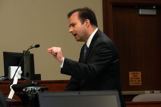 Defense attorney John Dakmak delivers closing arguments.