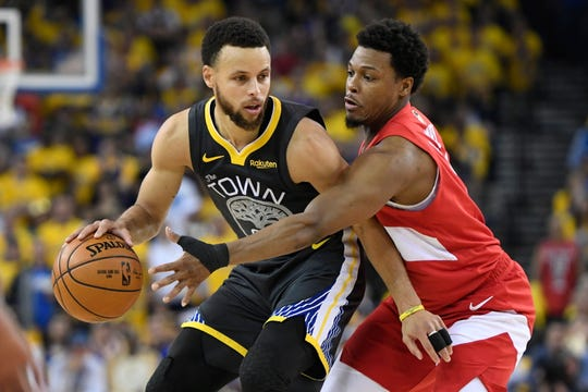Stephen Curry, left, and the Warriors will look to force a Game 7 against the Raptors in what will be the final game at Oracle Arena.